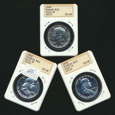 3 Pack Franklin Kennedy Half Dollar 50C Lot SILVER 1956 1963 1964 US Coins Lot