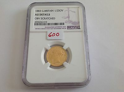 1883 Great Britain Half Sovereign NGC AU Details / Scratched