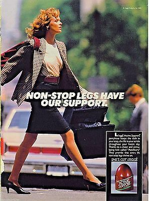 1988 L'eggs Pantyhose Woman Crossing Street Legs Support~Print Ad