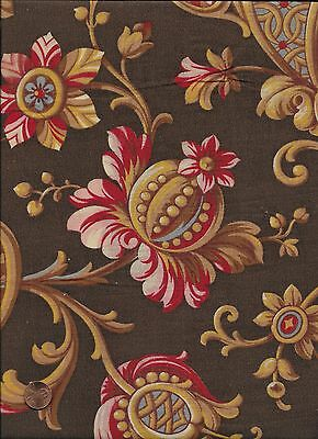 Antique 1870 Brown & Gold Large Floral Fabric