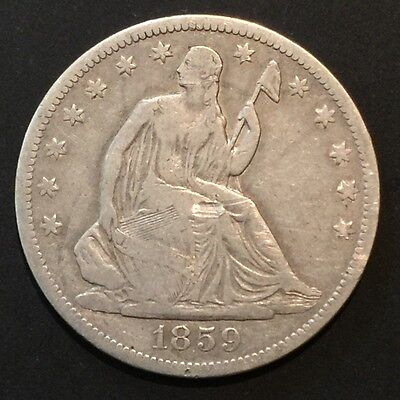 1859-S Seated Liberty HALF  Better Date! WONDERFUL TYPE COIN **NO RESERVE**!!