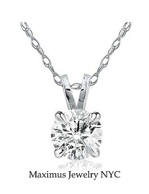 1/3 ct Round Solitaire Natural Diamond Pendant With Necklace 14K White Gold