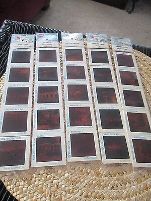 Lot of 5 vintage Pana-vue Slides, Niagara Fall, Lake Tahoe,St Croix, DC, +, NEW
