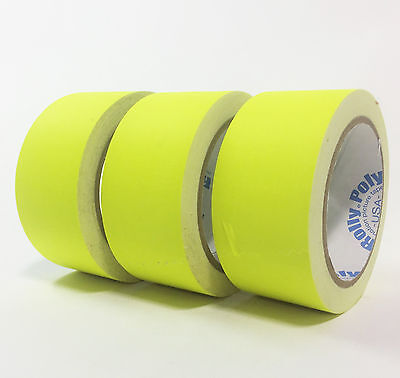 "Fluorescent Yellow Gaffers Tape - 3 rolls of 2"" x 20YD - Rolly Poly"