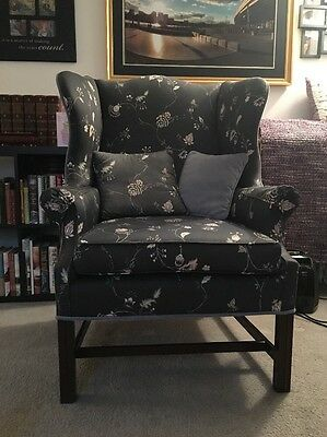 Chippendale Straight Leg Down Filled Cushion Fireside Wingback Chair