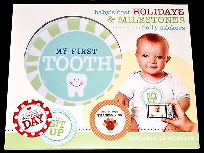 """C.R. Gibson Baby's First Holidays & Milestones 12-Pk Belly Stickers 4.5"""" Photos"""