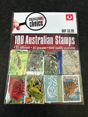 Australia Post Collectors Choice 100 Assorted Post Marked Australian Stamps Pack