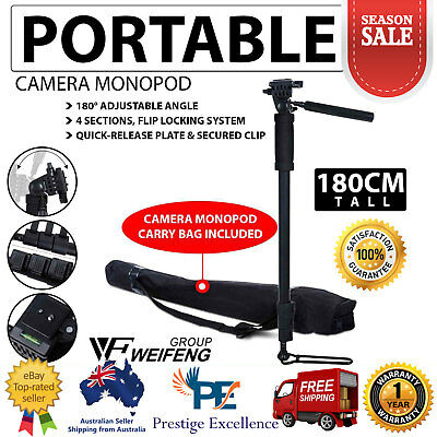 Extendable Portable MONOPOD Tripod Unipod Holder Digital Camera DSLR 180cm Tall
