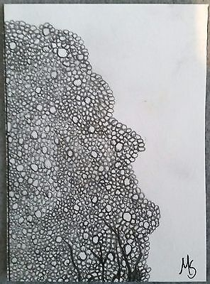 Face of Circles Graphite ACEO Art MS Original Drawing