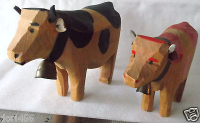 Vintage Lot of 2 Hand Carved Figures - Bull and Cow  Scandinavian or Swiss?