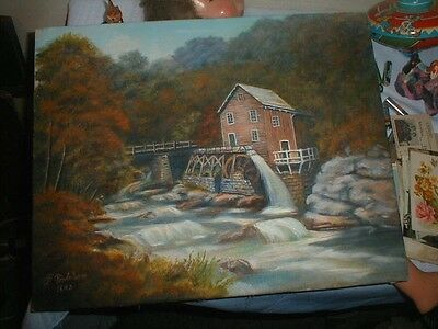Super Artist Signed Oil On Canvas Grist Mill Painting