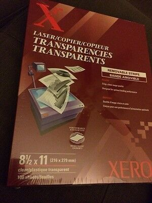 """NEW Xerox Transparencies qty 100 8-1/2""""x11"""" removable stripe Sealed 3R3108"""