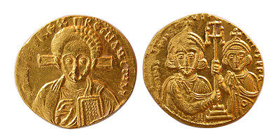 PCW-B751-BYZANTINE EMPIRE. Justinian II and Tiberius, 705-711 AD. Gold Solidus.