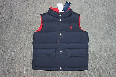 Ralph Lauren Baby Boys Navy / Red Reversible Quilted Vest - Size 24 Months - NWT