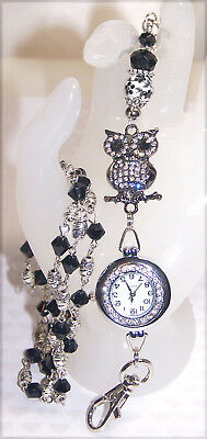 Black Rhinestone Owl & Crystal Beaded Lanyard Necklace / ID Badge with Watch