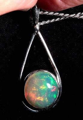 6.5 ct Ethiopian Opal Necklace - Sterling Silver w/ 16 inch silver chain Pendant