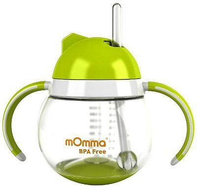Momma Baby/Toddler Rocking Straw Cup With Dual Handle, 8.4 Oz/250 Ml (Green)