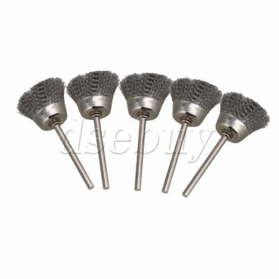 "Silvery Bowl Shape 25MM dia Stainless Steel Wire Brush Drill End 1/8"" shank 5pcs"