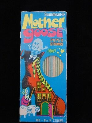 Vintage 60s MOTHER GOOSE Paper Drinking STRAWS New Old Stock SWEETHEART Box