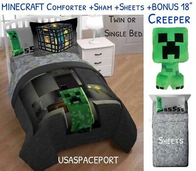 5pc MINECRAFT Creeper Twin/Single COMFORTER + SHEETS + Blanket SET Bed in a Bag