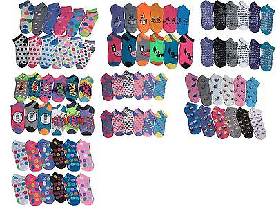 New Lot 12 Pairs Womens Ankle Socks Multi Color Fashion Size 9-11