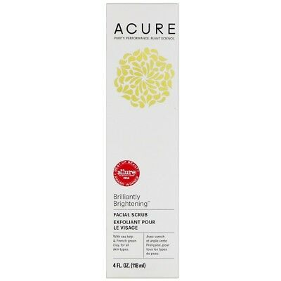 Acure Organics Brightening Facial Scrub - Organic Kelp Clay Aloe Walnut Natural