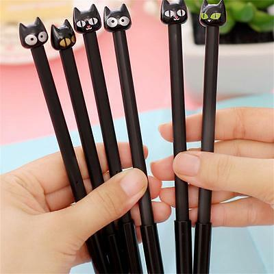 4PCS Mignon Bureau Fournitures Scolaires Papeterie Gel Cat Black Ink Pen 0.5mm
