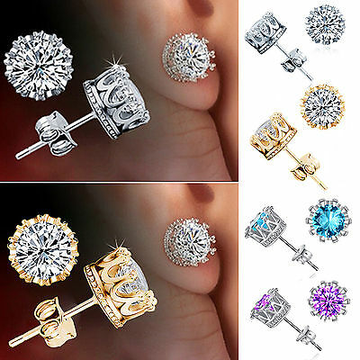 925 Sterling Silver CZ 8MM Crown Stud Earrings Round Crystal Cubic Zirconia Best