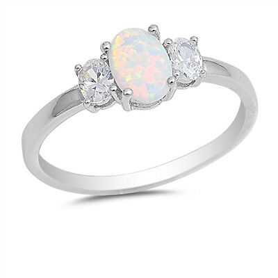 White Created Opal Trilogy Ring in 925 Sterling Silver With Cubic Zirconia CZ