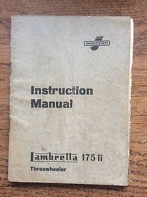 Instruction Manual Lambretta 175 li Threewheeler Workshop Service User Booklet
