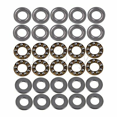 8 x 16 x 5mm Silver 3-Parts Axial Thrust Bearing F8-16M Steel Pack of 10