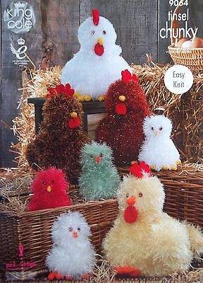 King Cole Chunky DK Toy Knitting pattern hen and chicks Small  Large  9064