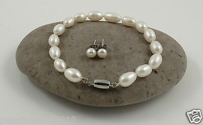 Fine White Rice Freshwater Pearl Sterling Silver Bracelet & Studs 7.5''-8''
