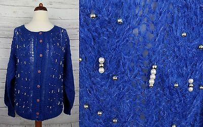 Ladies Blue Bobble Bead Button Front Vintage Wool Blend Cardigan -14/16- DH38