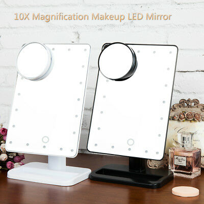 Portable 20 LED Light+10X Magnifier Touch Screen Beauty Makeup Mirror Bathroom