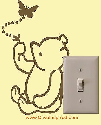 Classic Winnie the Pooh Light Switch Art Vinyl Wall Decal Nursery Decor Sticker