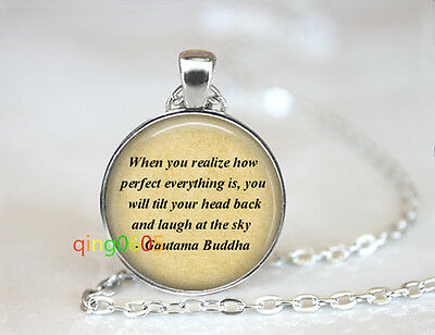 Buddha quote photo glass dome Tibet silver Chain Pendant Necklace wholesale