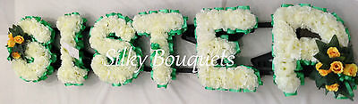 Artificial Silk Funeral Flower Sister Memorial 6 Letter Tribute Floral Wreath