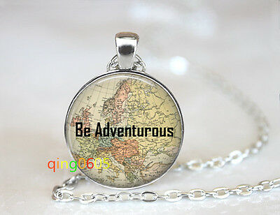 Be Adventurous map glass dome Tibet silver Chain Pendant Necklace wholesale