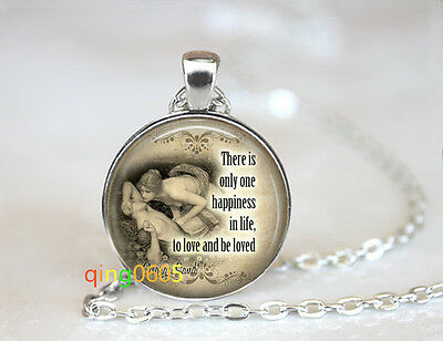 Happiness quote photo glass dome Tibet silver Chain Pendant Necklace wholesale