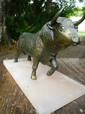 Metal Ox Statue Marble Base Vintage wealth money coin Wall Street oxen bull