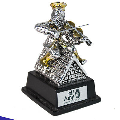 Jewish Hassidic Fiddler On The Roof Figurine silver plated 925 3.5 inch /8 cm