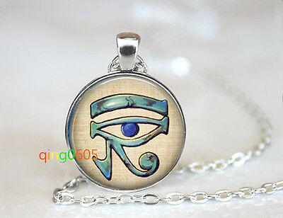 Eye of Horus Egyptian glass dome Tibet silver Chain Pendant Necklace wholesale
