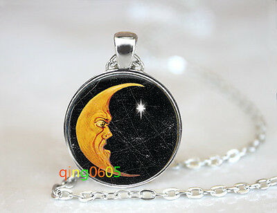 Crescent Moon dome glass Tibet silver Chain Pendant Necklace wholesale