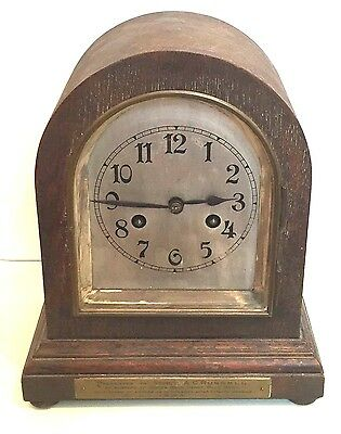 "German Oak Case Dome Topped Silvered Face Striking Mantle Clock GWO 11""H 9""W 6""D"
