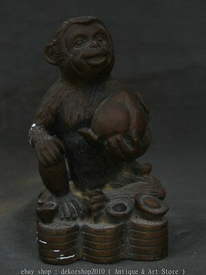 """6"""" Old Chinese Bronze Fengshui Zodiac Animal Monkey Yuanbao Coins Wealth Statue"""