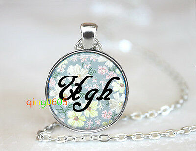 Ugh Floral Word photo glass dome Tibet silver Chain Pendant Necklace wholesale
