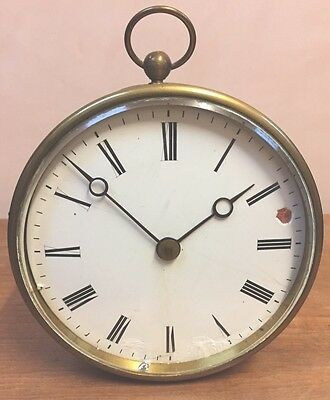 """Rohrer & Sons Plymouth Brass Case Enameled Face Timepiece Mantel Clock GWO 5,5""""D"""