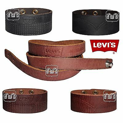 New Men Levis Genuine Leather Cuff Bracelet Wristband In 5 Different Styles NWT