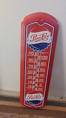 Vintage Pepsi Sign Metal Thermometer 27 Inch Great Colors